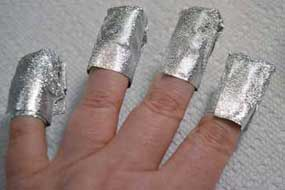 use foil to wrap all nails to remove gel nails