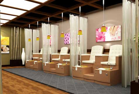 luxury pedicure benches design with high wood material