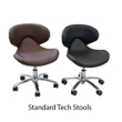 standard pedicure stools in black and burgundy