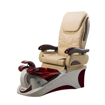 Angel pedicure spa in silver burgundy base & beige top chair