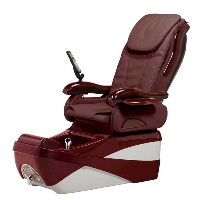 Chocolate SE pedicure spa in burgundy base and burgundy top chair