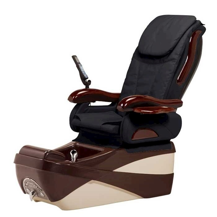 Chocolate SE pedicure spa in chocolate base and black top chair