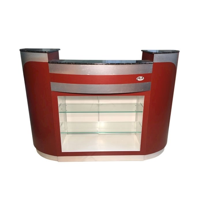 C209 Reception Counter Burgundy/Aluminum