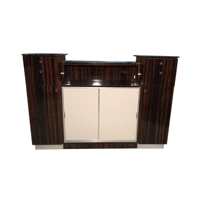 C-108 Reception Counter Cherry/Chestnut Back View With Doors Closed