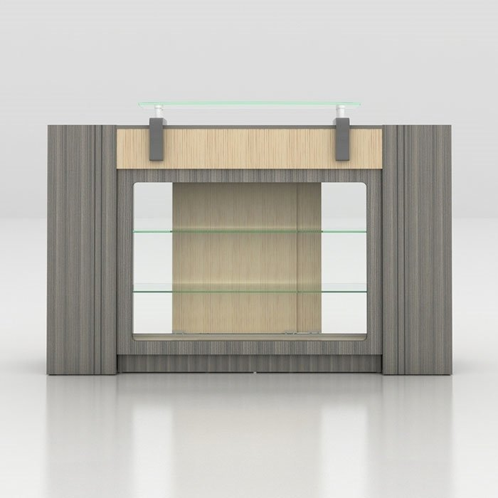 Alera Reception Counter With Glass Display Front View