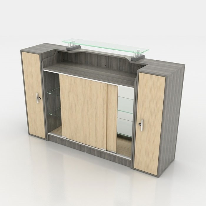 Alera Reception Counter With Glass Display Side View