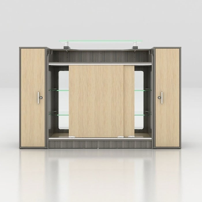 Alera Reception Counter With Glass Display Back View