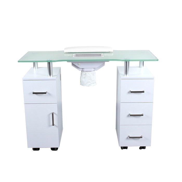 Glasglow Manicure Table White Back View