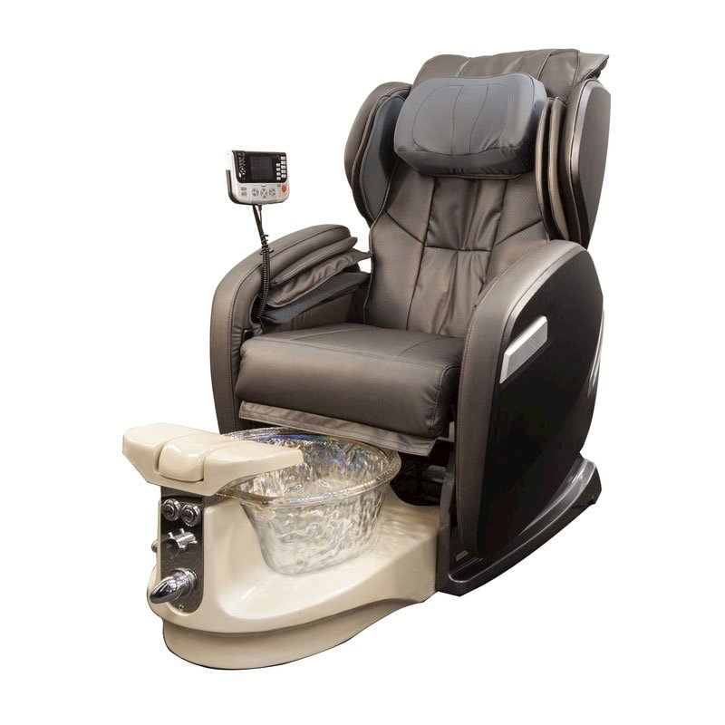 fiori 9000 spa chair with champagne base crystal bowl and grey chair
