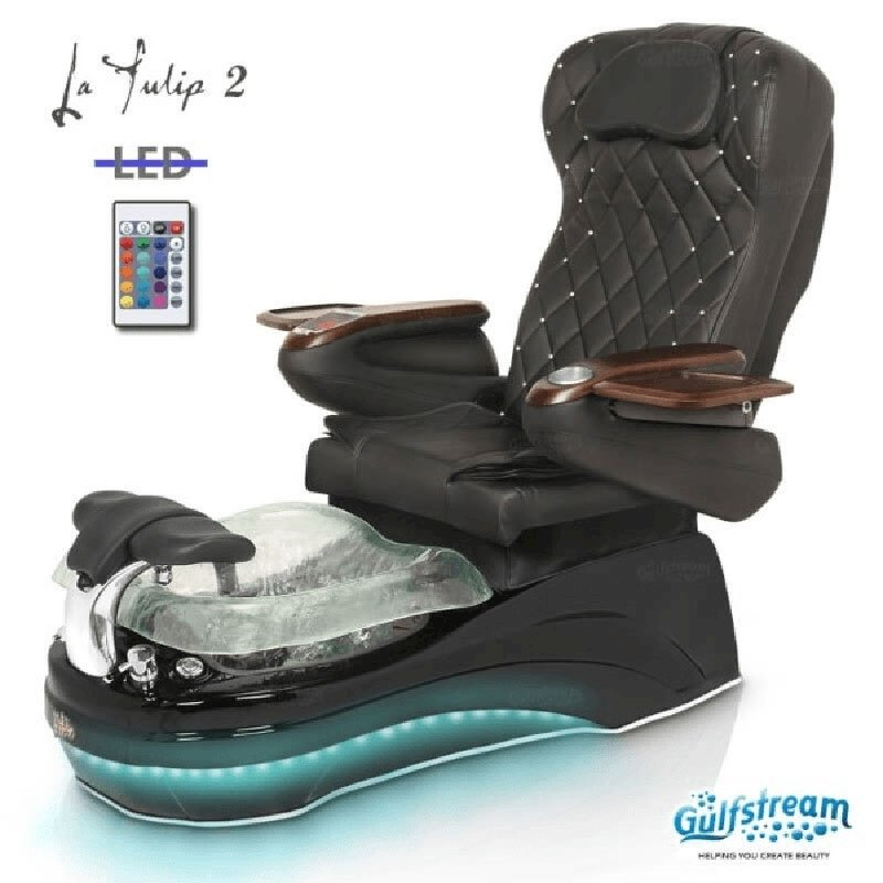 LED La Tulip 2 Spa Chair Black Base, Clear Bowl & 9660 Black With Pearl