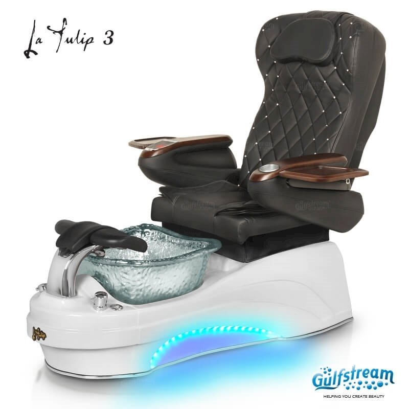 La Tulip 3 pedicure chair in white base, clear bowl, 9660 black with pearl and LED lights installed