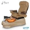 La Tulip 3 pedicure chair in cappuccino base, amber bowl, 9660 curry