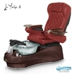 La Tulip 3 pedicure chair in mahogony base, clear bowl, 9660 burgundy