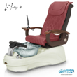 La Tulip 3 pedicure chair in white base, clear bowl, 9620 burgundy