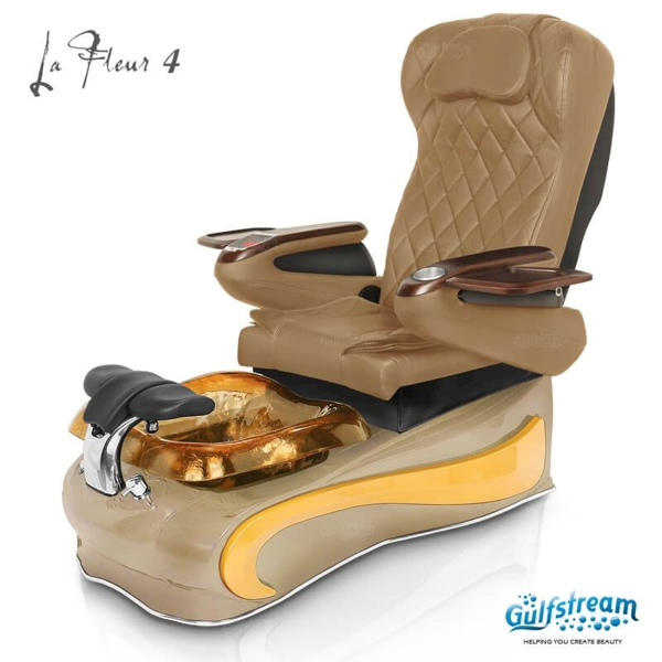 La Fleur 4 spa chair in cappuccino base, amber bowl, amber insert and 9660 curry