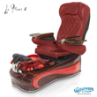 La Fleur 4 spa chair in mahogany base, wine bowl, red insert and 9660 burgundy