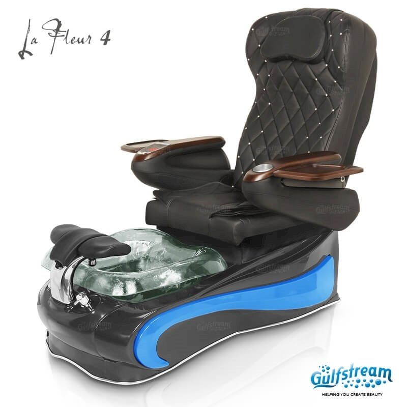 La Fleur 4 spa chair in black base, clear bowl, blue insert and 9660 black with pearl