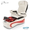 La Fleur 4 spa chair in white base, wine bowl, red insert and 9660 white with pearl