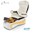 La Fleur 4 spa chair in white base, amber bowl, amber insert and 9660 white with pearl