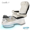 Camellia spa chair in white base, clear bowl, 9660 white with pearl and LED lights installed