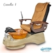 Camellia spa chair in cappuccino base, amber bowl, 9620 butterscotch