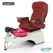 Camellia 2 spa chair in white base, wine bowl and 9660 burgundy