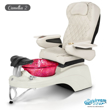 Camellia 2 spa chair in white base, wine bowl and 9660 white with pearl