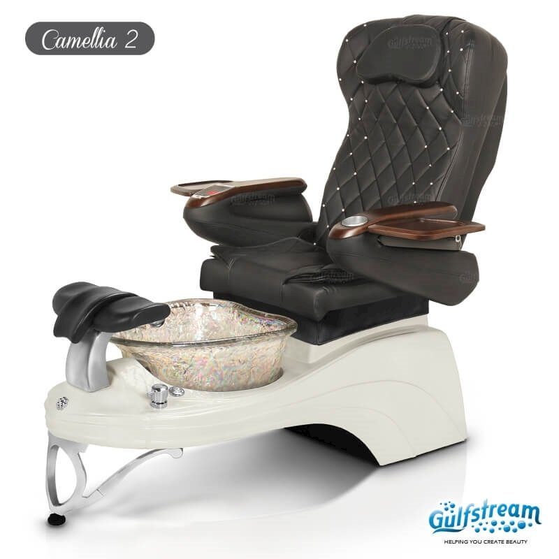 Camellia 2 spa chair in white base, clear bowl and 9660 black with pearl