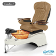 Camellia 2 spa chair in white base, amber bowl and 9660 curry