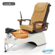 Camellia 2 spa chair in white base, amber bowl and 9620 butterscotch