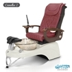 Camellia 2 spa chair in white base, clear bowl and 9620 hollyhock