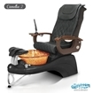 Camellia 2 spa chair in black base, amber bowl and 9620 black