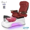 Daisy 3 spa chair in white base, wine bowl, 9660 burgundy and LED lights installed