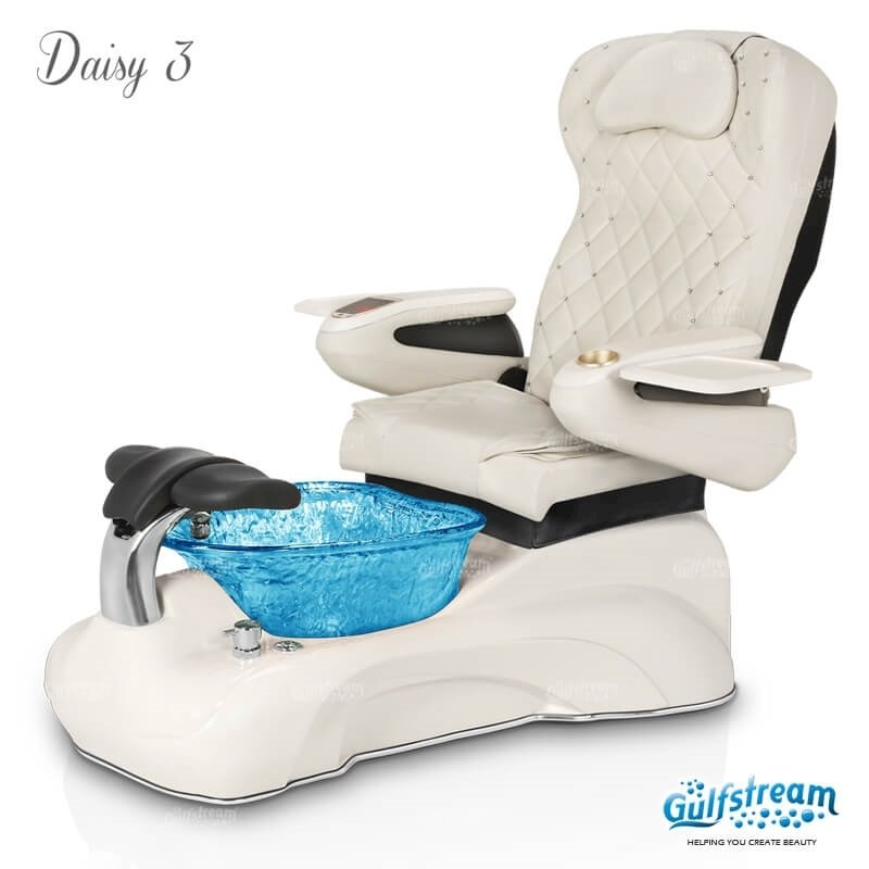 Daisy 3 spa chair in white base, blue bowl, 9660 white with pearl and LED lights installed