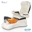 Daisy 3 spa chair in white base, amber bowl, 9660 white with pearl