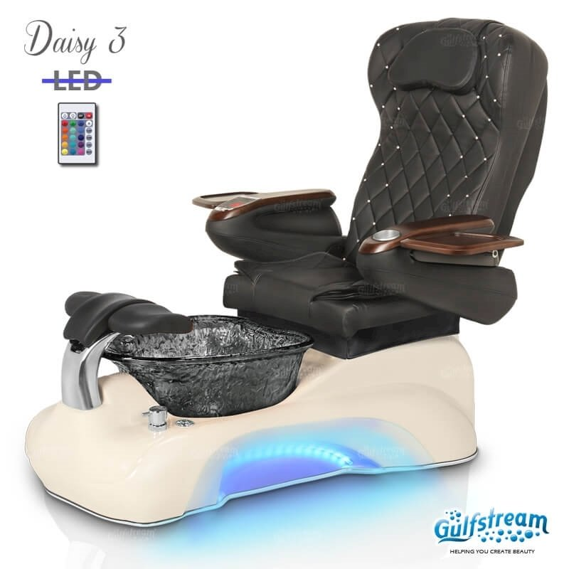 Daisy 3 spa chair in biscuit base, black bowl, 9660 black with pearl and LED lights installed