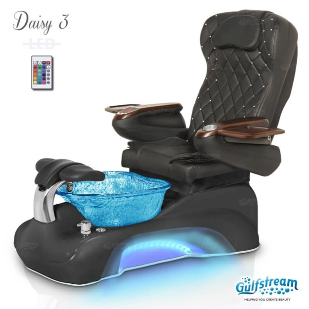 Daisy 3 spa chair in black base, blue bowl, 9660 black with pearl and LED lights installed