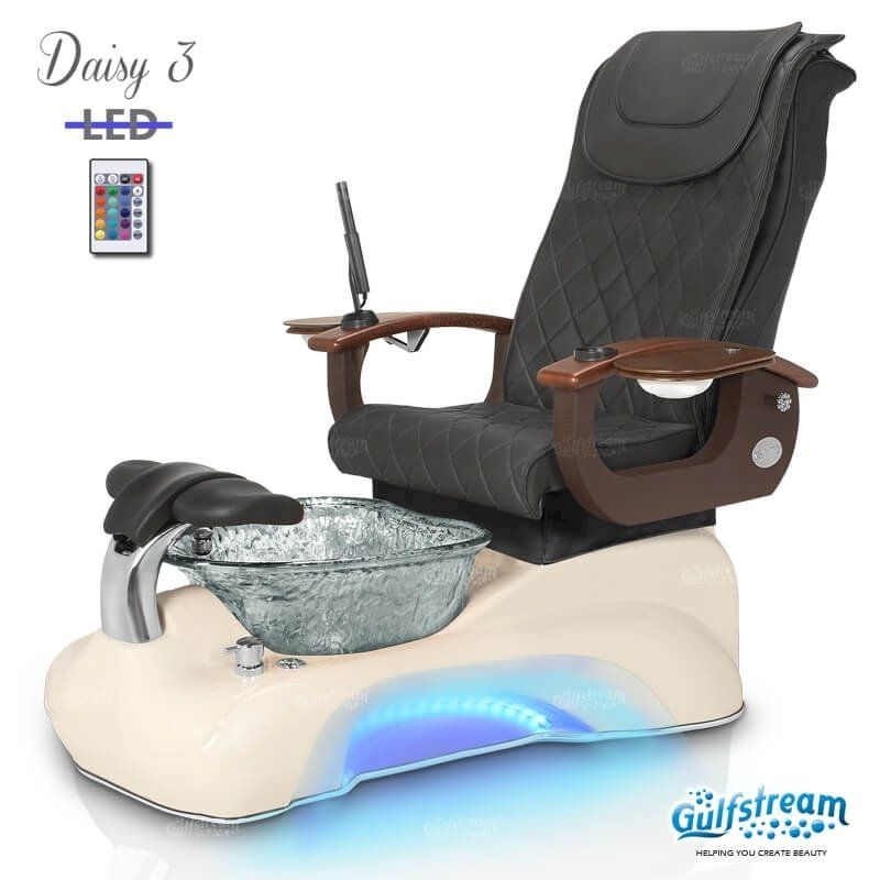 Daisy 3 spa chair in biscuit base, clear bowl, 9620 black and LED lights installed