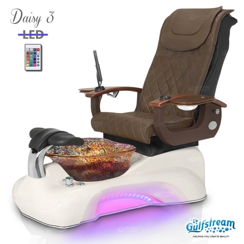 Daisy 3 spa chair in white base, rusted gold bowl, 9620 truffle and LED lights installed