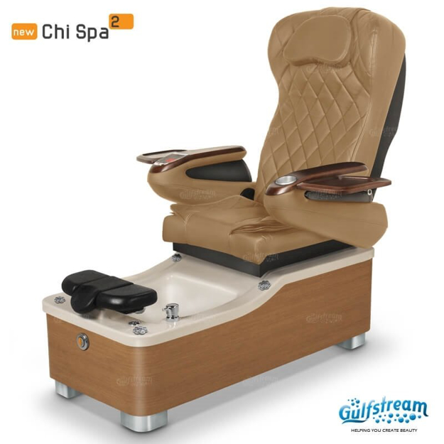Chi spa chair in equinox laminate, biscuit sink and 9660 curry