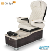 Chi spa chair in dorato brown laminate, biscuit sink and 9660 white with pearl