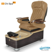 Chi spa chair in dorato brown laminate, cappuccino sink and 9660 curry
