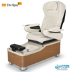 Chi spa chair in equinox laminate, biscuit sink and 9660 white with pearl