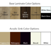 Chi spa chair sink & laminate color options