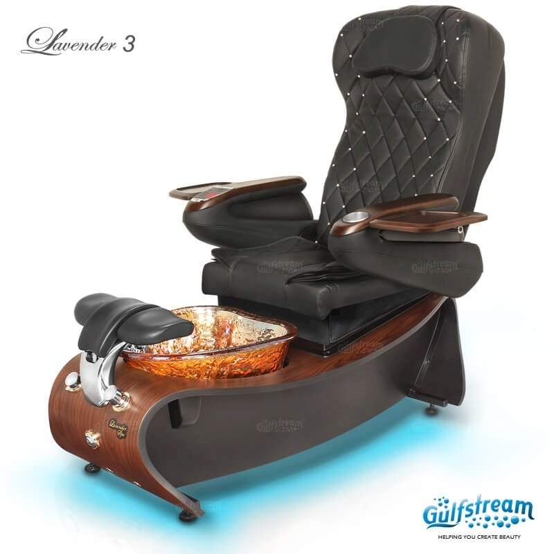 Lavender 3 spa chair in dark cherry, amber bowl, 9660 black with pearl and LED lights installed