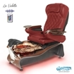 La Violette spa chair in dark cherry base, rusted gold bowl, 9660 burgundy and LED lights installed
