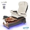 La Violette spa chair in dark cherry base, rusted gold bowl, 9660 white with pearl and LED lights installed