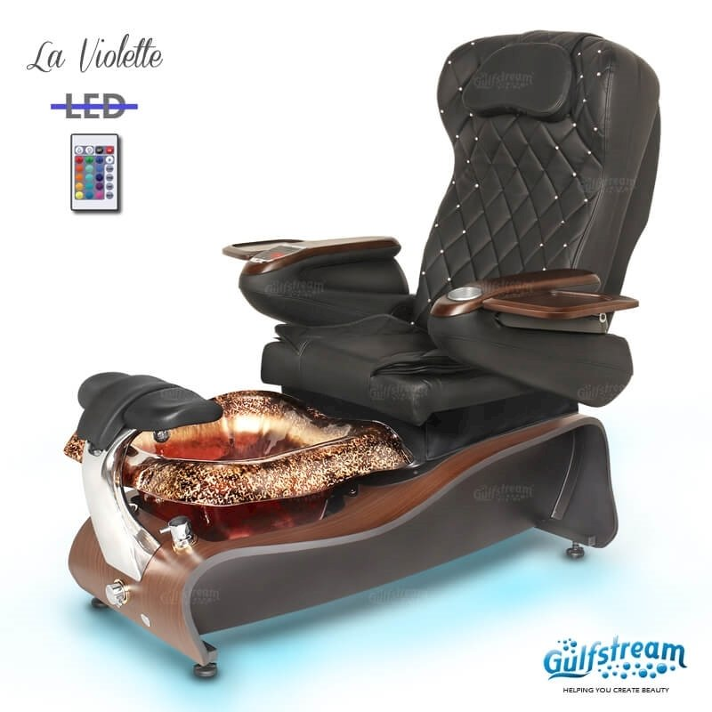 La Violette spa chair in dark cherry base, rusted gold bowl, 9660 black with pearl and LED lights installed