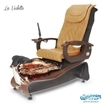 La Violette spa chair in dark cherry base, rusted gold bowl, 9620 butterscotch