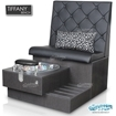 Tiffany single spa bench in truffle laminate base, clear bowl and truffle upholstery